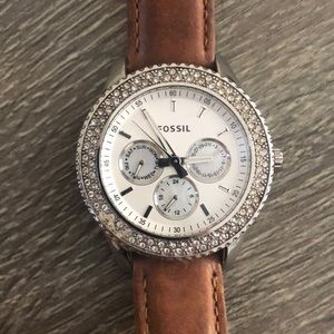 Fossil Leather band Diamond Face Watch